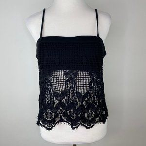 Express Womens Tank Top Size Large Black Crochet